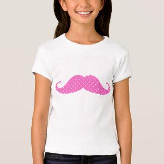 Funny Hot Pink Girly  Polka Dots Mustache T-shirts