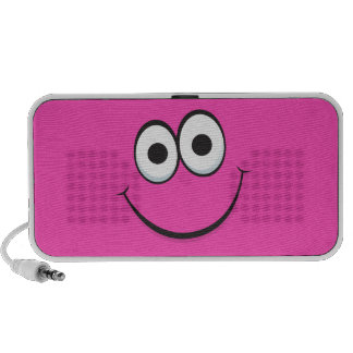 Funny hot pink happy cartoon face Doodle speakers