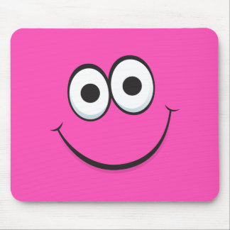 Funny hot pink happy cartoon face mousepads