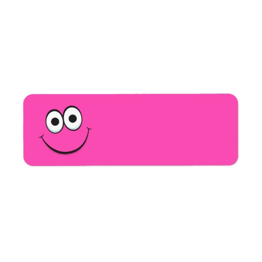 Funny hot pink happy smiling cartoon smiley face return address label
