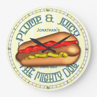 Funny Hotdog Personalised Kitchen Clock