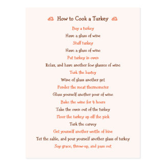 Funny How To Cook Turkey Thanksgiving Recipe Card