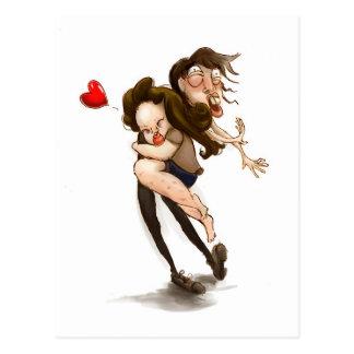 Funny hugging lover postcard