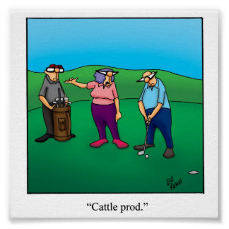 Funny Husband & Wife Golf Poster