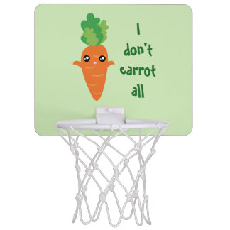 Funny I don't Carrot All Food Pun Humor Cartoon Mini Basketball Hoop
