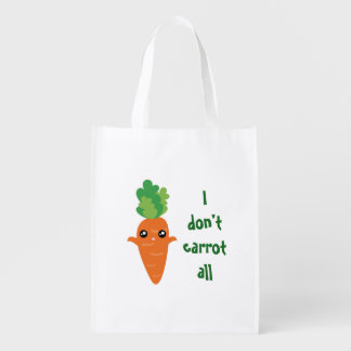 Funny I don't Carrot All Food Pun Humor Cartoon Reusable Grocery Bag