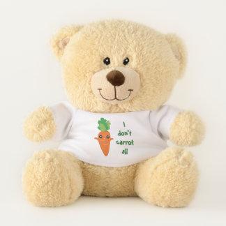 Funny I don't Carrot All Food Pun Humor Cartoon Teddy Bear