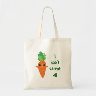 Funny I don't Carrot All Food Pun Humor Cartoon Tote Bag