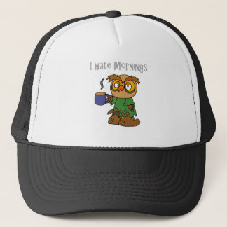 Funny I Hate Mornings Owl Cartoon Trucker Hat