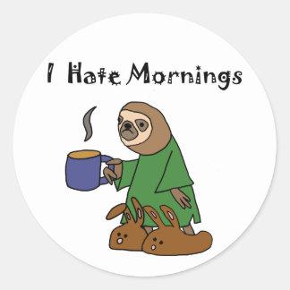 Funny I Hate Mornings Sloth Cartoon Round Sticker