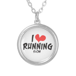 Funny I heart (love) Running SLOW Round Pendant Necklace