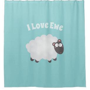 Funny I Love Ewe Cute Fluffy White Sheep Whimsical Shower Curtain
