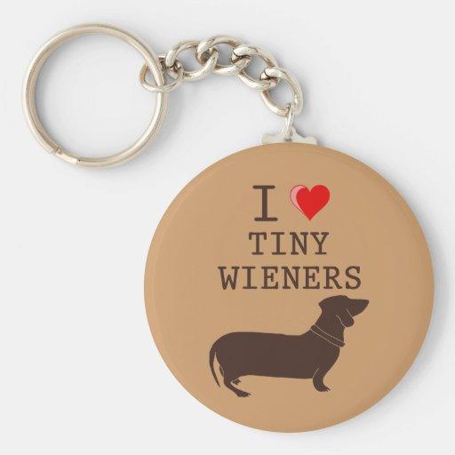 Funny I Love Tiny Wiener Dachshund Key Chain