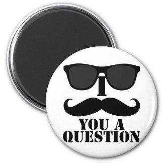 Funny I Moustache You A Question Black Sunglasses 6 Cm Round Magnet