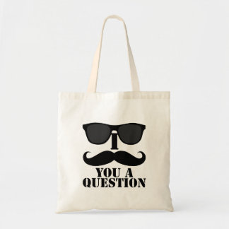 Funny I Moustache You A Question Black Sunglasses Budget Tote Bag