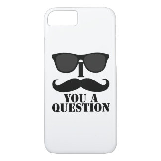Funny I Mustache You A Question Black Sunglasses iPhone 7 Case