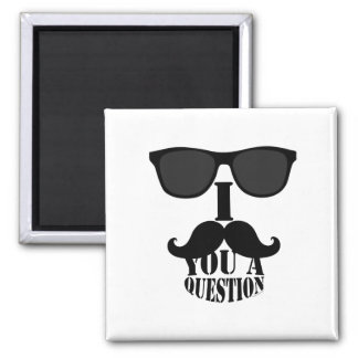 Funny I Mustache You A Question with Sunglasses Fridge Magnet