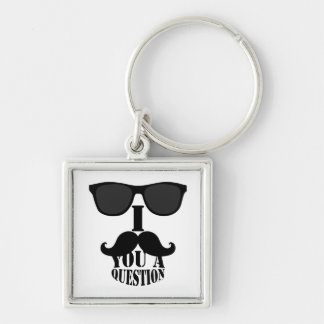 Funny I Mustache You A Question with Sunglasses Silver-Colored Square Key Ring