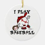 Funny I Play Baseball Tshirts and Gifts Christmas Tree Ornaments