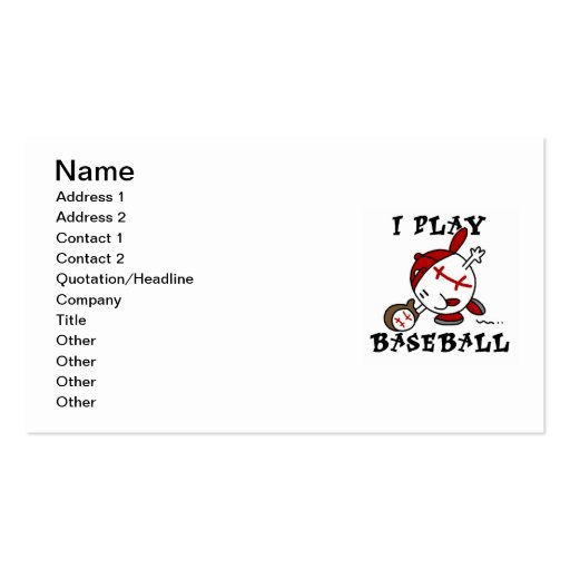 Funny I Play Baseball Tshirts and Gifts Pack Of Standard Business Cards