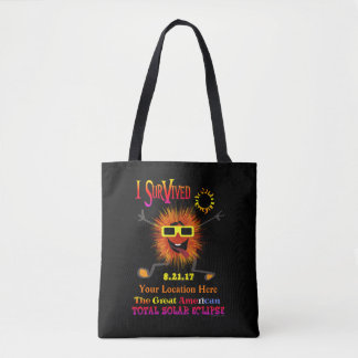 Funny I Survived The Great American Solar Eclipse Tote Bag