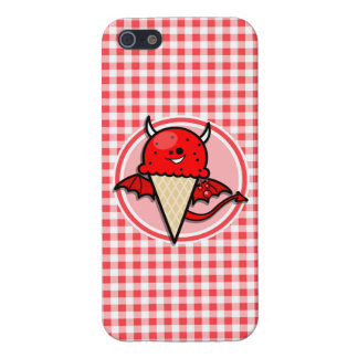 Funny Ice Cream Devil Red and White Gingham Cases For iPhone 5