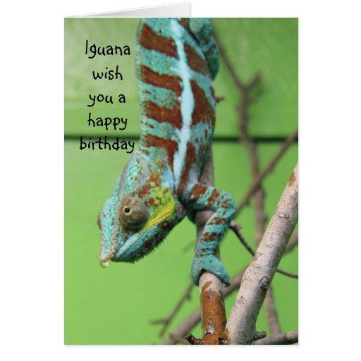 Funny Iguana Birthday Card, share the cake