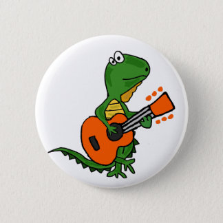 Funny Iguana Playing Guitar Cartoon 6 Cm Round Badge