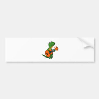 Funny Iguana Playing Guitar Cartoon Bumper Sticker