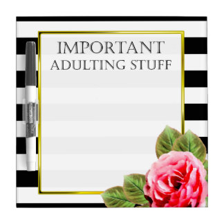 Funny Important Adulting Stuff For Women Dry Erase Whiteboard