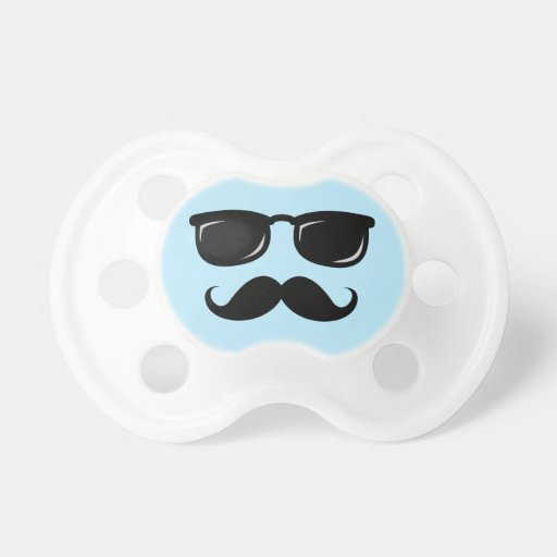 Funny incognito blue smiley face with mustache baby pacifier