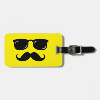 Funny incognito smiley mustache trendy hipster luggage tag