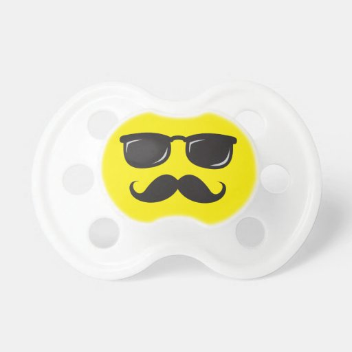 Funny incognito yellow smiley face with mustache baby pacifier