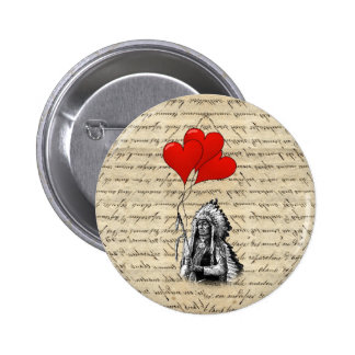 Funny Indian chief and heart balloons Button