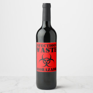 Funny Infectious Waste Biohazard Halloween Wine Label