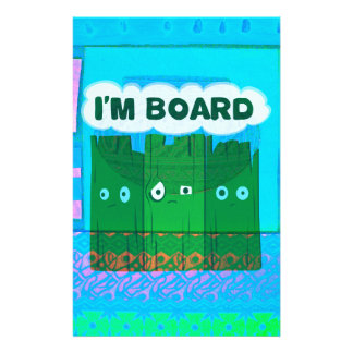 Funny Inspirational Graphic I Am bored Text Art Personalized Stationery