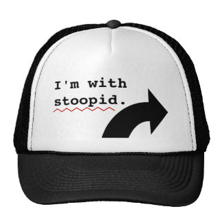 Funny Insults Im With Stupid Spell Check Mesh Hat