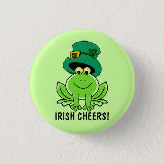 Funny Irish Cheers Cartoon Frog St. Patrick's Day 3 Cm Round Badge