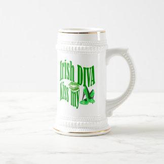 Funny Irish diva  St Patrick's day 18 Oz Beer Stein