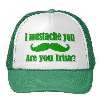 Funny Irish mustache St Patrick s day Trucker Hats