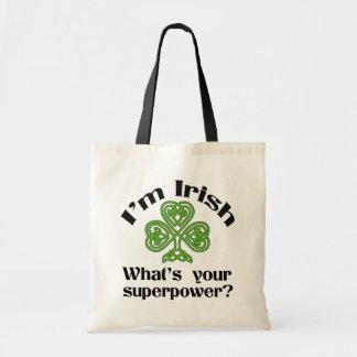 Funny Irish Superpower Shamrock Tote Bag