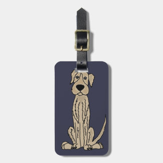 Funny Irish Wolfhound Puppy Dog Art Luggage Tag