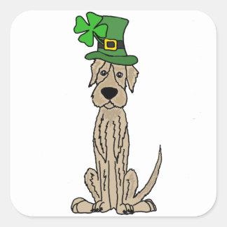 Funny Irish Wolfhound St. Patrick's Day Art Square Sticker
