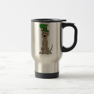 Funny Irish Wolfhound St. Patrick's Day Art Travel Mug
