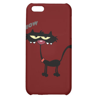 FUNNY ITUDE MEOW BLACK CAT CARTOON CHARACTER PE iPhone 5C CASE