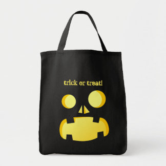 Funny Jack-o'-lantern faces - trick or treat Grocery Tote Bag