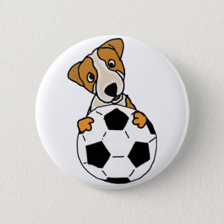 Funny Jack Russell Dog Playing Soccer or Football 6 Cm Round Badge