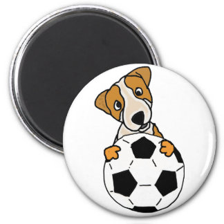 Funny Jack Russell Dog Playing Soccer or Football Magnet
