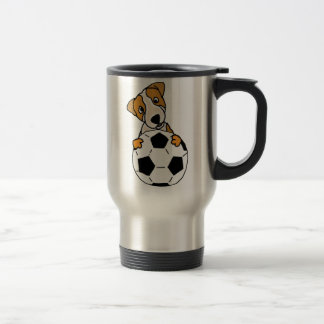 Funny Jack Russell Dog Playing Soccer or Football Travel Mug