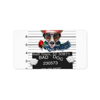 Funny jack russell ,Mugshot dog Address Label